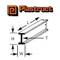 Plastruct I Beam Section 14.3mm BFS18 390mm Long 3 Pack 90521